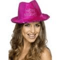 Hat - 'Hen Night' Fuchsia Fedora  (Smiffys)