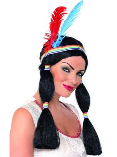 Indian Princess Wig (Smiffys 1802) with Headband & Feathers