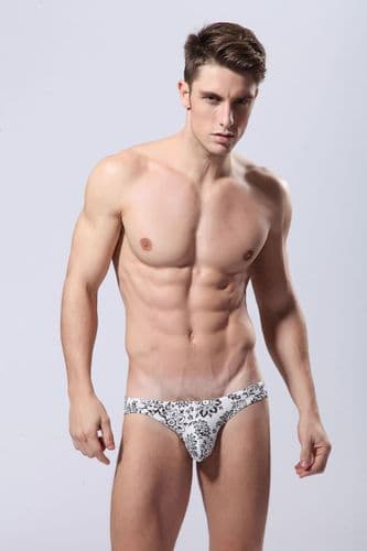 Men's Briefs (SKB008) - White with Black