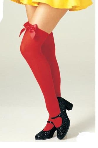 Thigh High Stockings - Red with Red Bows