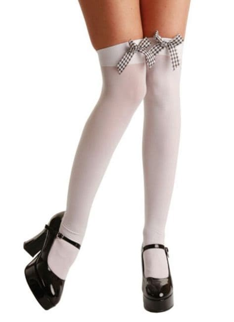 Thigh High Stockings (Wicked) - White with Black and White Gingham Bows