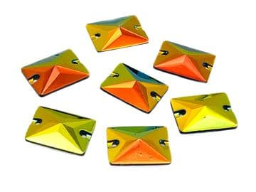 Amber Flare Rectangle Shape, EIMASS® Resin Sew on Glue on Crystals