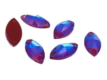 Amethyst AB Navette, EIMASS® 8868 Exquisite Range Sew or Glue on Flat Back Horse Eye Shape Crystals