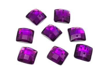Amethyst Purple Chessboard style Square, EIMASS Resin Crystals, Sew or Glue on Flat Back Rhinestones