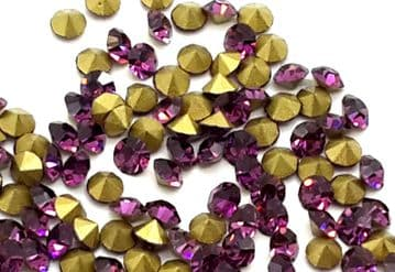 Amethyst Purple Foiled Chatons, EIMASS® Point Back Crystals