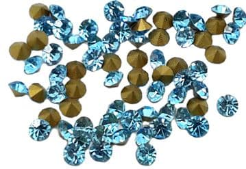 Aquamarine Foiled Chatons, EIMASS® Point Back Crystals
