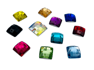 Assorted Colours Pack Chessboard Square, EIMASS Resin Crystals, Sew or Glue on Flat Back Rhinestones