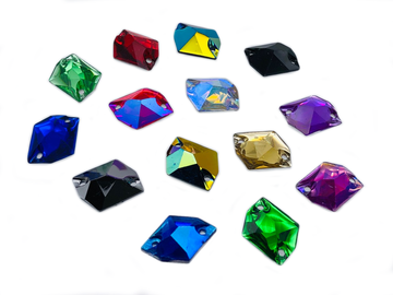 Assorted Colours Pack Hexagon, EIMASS Resin Crystals, Sew or Glue on Flat Back Rhinestones