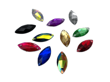 Assorted Colours Pack, Navette Horse Eye, EIMASS Resin Crystals, Sew or Glue on Flat Back Rhinestone