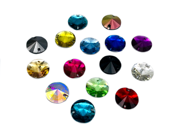 Assorted Colours Pack Rivoli Shape, EIMASS Resin Crystals, Sew or Glue on Flat Back Rhinestones