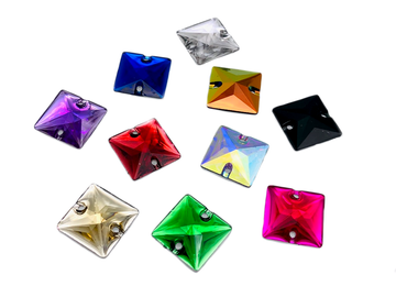 Assorted Colours Pack Square Shape, EIMASS® Resin Sew on Glue on Crystals