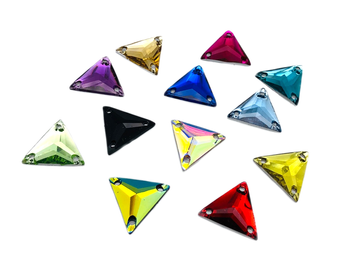 Assorted Colours Pack Triangle, EIMASS® Resin Crystals, Sew on Glue on Stones