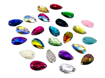 Assorted Colours Teardrop, EIMASS Resin Crystals, Sew or Glue on Flat Back Rhinestones