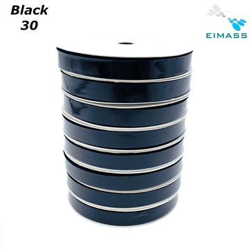 Black (30) Premium Double Sided EIMASS® Satin Ribbons 6mm 10mm 15mm 20mm 25mm 38mm