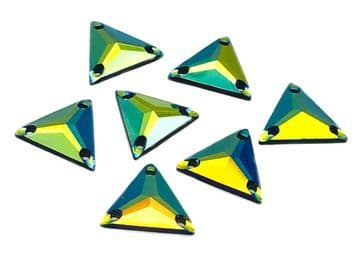 Black AB Triangle, EIMASS® Resin Crystals, Sew on Glue on Rhinestones