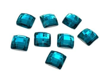 Blue Zircon Chessboard style Square, EIMASS Resin Crystals, Sew or Glue on Flat Back Rhinestones