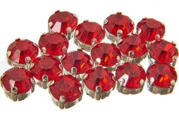 Bright Red Rose Montees, EIMASS® 3555 Range Single Stone Silver Setting Crystals