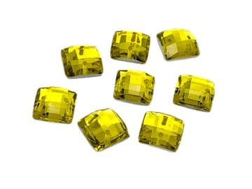 Citrine Yellow Chessboard style Square, EIMASS Resin Crystals, Sew or Glue on Flat Back Rhinestones