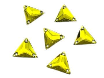 Citrine Yellow Triangle, EIMASS® Resin Crystals, Sew on Glue on Stones