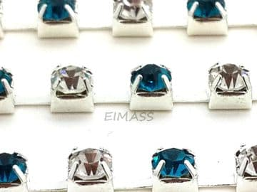 Clear and Blue Zircon in Silver Chain, EIMASS® Grade A World Class Rhinestone Cup Chain Trimming