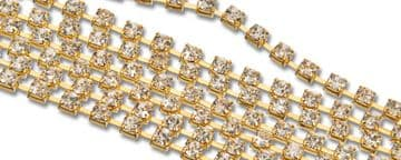 Clear Crystal in Gold Chain, EIMASS® Grade A World Class Rhinestone Cup Chain Trimming