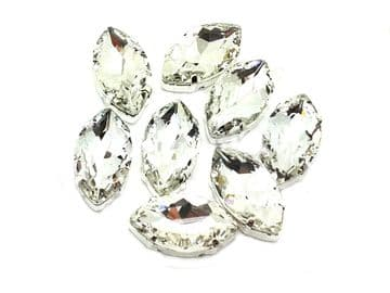 Clear Crystal Navette Horse Eye, EIMASS® 3511 Sew or Glue on Single Stone Setting Crystals