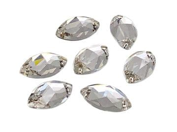 Clear Crystal Navette Horse Eye, EIMASS® 8868 Exquisite Range Sew or Glue on Flat Back Crystals