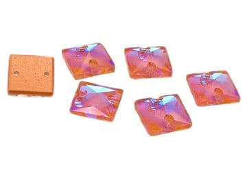 Coral AB Square, EIMASS® 8868 Exquisite Range Sew on Glue on Flat Back Crystals