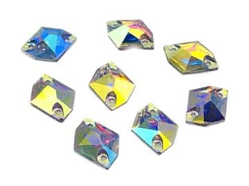 Crystal AB Hexagon, EIMASS Resin Crystals, Sew or Glue on Flat Back Rhinestones