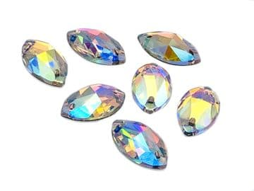 Crystal AB Navette, EIMASS® 8868 Exquisite Range Sew or Glue on Flat Back Horse Eye Shape Crystals