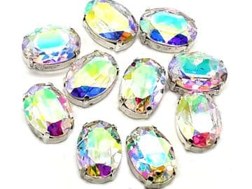 Crystal AB Oval, EIMASS® 3511 Sew or Glue on Single Stone Setting Crystals