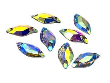 Crystal AB Random Shape EIMASS Resin Crystals, Sew or Glue on Flat Back Rhinestones