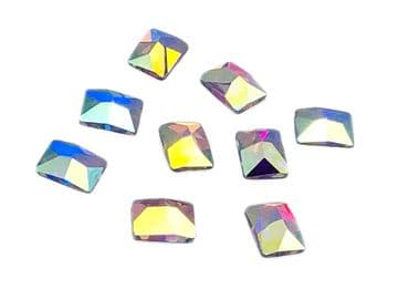 Crystal AB Rectangle #1 Hot Fix, EIMASS® 7737 Tiny Glass Crystals