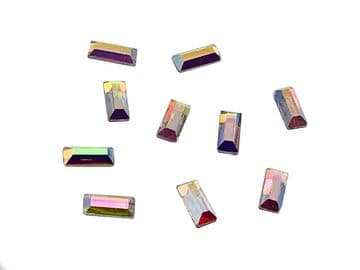 Crystal AB Rectangle #2 Hot Fix, EIMASS® 7737 Tiny Glass Crystals