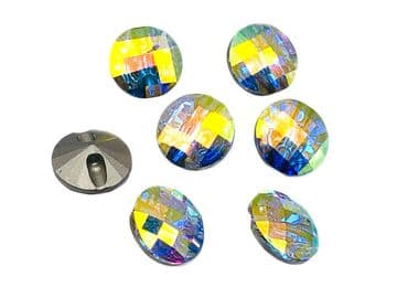 Crystal AB Round #3 Buttons, EIMASS® Exquisite Range Cut Glass Sewing Buttons