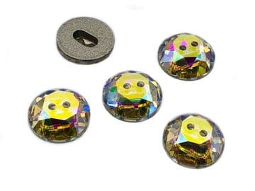 Crystal AB Round Dome Buttons, EIMASS® Exquisite Range Cut Glass Sewing Buttons