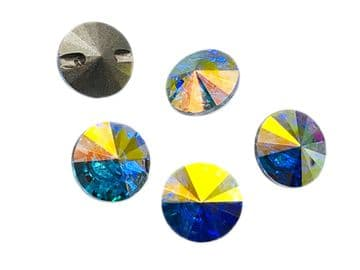 Crystal AB Round Rivoli Buttons, EIMASS® Exquisite Range Cut Glass Sewing Buttons