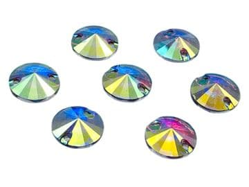 Crystal AB Round Rivoli Shape, EIMASS Resin Crystals, Sew or Glue on Flat Back Rhinestones