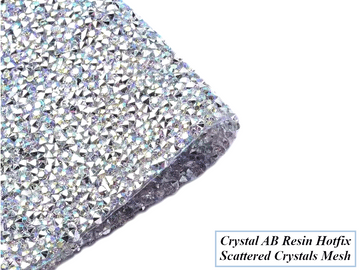 Crystal AB Scattered Crystals Hot Fix Rhinestone Mesh, EIMASS® Resin Crystal Mesh