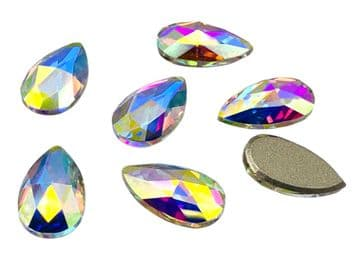 Crystal AB Teardrop (No holes), EIMASS® 8869 Exquisite Range Glue on Flat Back Crystals