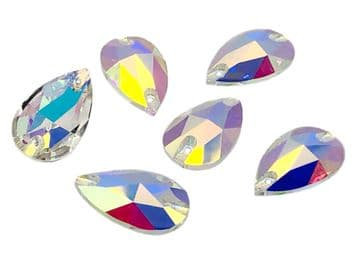 Crystal AB Teardrop Unfoiled, EIMASS® Exquisite Range Sew on Glue on Flat Back Crystals