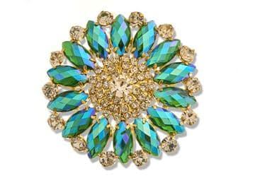 Emerald AB Style 8740 EIMASS® Sew or Glue on Jewelled Applique for Wedding Dress, Costumes