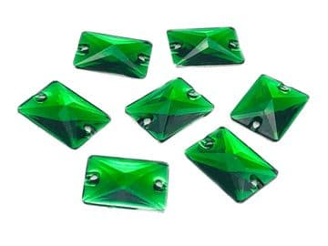 Emerald Green Rectangle Shape, EIMASS® Resin Sew on Glue on Crystals