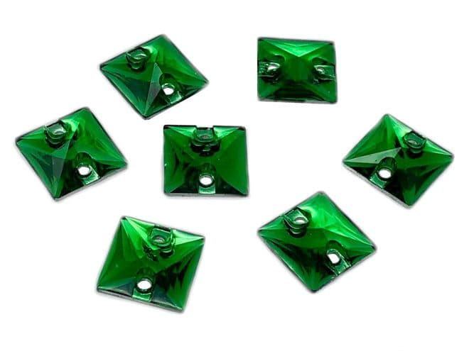 Emerald Green Square Shape, EIMASS® Resin Sew on Glue on Crystals