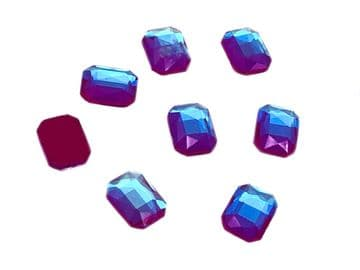 Fuchsia AB Rectangle Style 1, EIMASS® 8830 Tiny Glass Crystals - Nail Art  Size 6x10mm