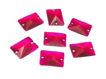 Hot Pink Rectangle Shape, EIMASS® Resin Sew on Glue on Crystals