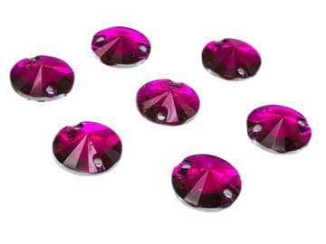 Hot Pink Round Rivoli Shape, EIMASS Resin Crystals, Sew or Glue on Flat Back Rhinestones