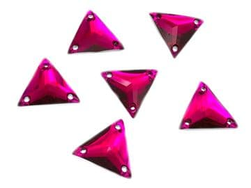 Hot Pink Triangle, EIMASS® Resin Crystals, Sew on Glue on Stones