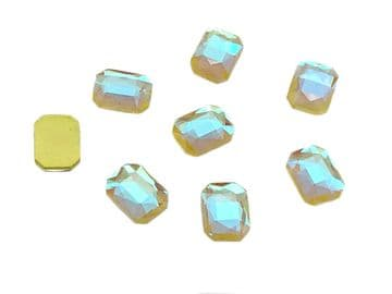 Lemon AB Rectangle 6x10mm, EIMASS® 8830 Tiny Glass Crystals - Nail Art  Size 6x10mm