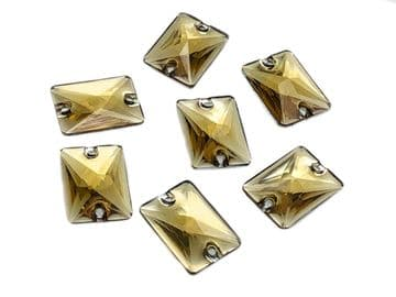 Light Gold Rectangle Shape, EIMASS® Resin Sew on Glue on Crystals